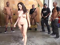 Gorgeous Brunette Pornstar With A Hairy Pussy Enjoying An Interracial Gangbang