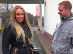 Hot blonde slut fucks in public