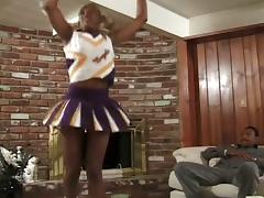 Ebony cheerleader drilled by a black boner