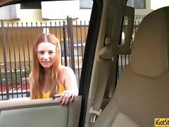 Busty teen Sam Summers gives roadhead and banged in public