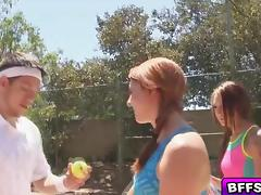 Two hot horny babes has hardcore threesome in a tennis court outdoors