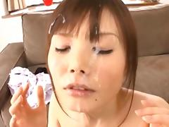 she is happy when her face is covered in semen