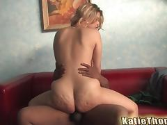 Katie Thomas rides black wang after sucking it hungrily