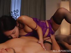 Exquisite asian hottie in sexy lingerie Emiri Okazaki enjoys fuck threesome