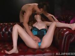 Asian in lingerie sucks cock, gets rimjob and hardcore pussy banging