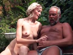 Skinny blonde Kimberley has sex with an old guy on the poolside