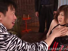 Asian milf wearing a corset gets her twat fucked as hard as never