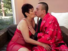 Bend Over, Brunette, Doggystyle, Mature, Old, Penis