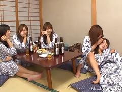 Five lustful Japanese chicks go lesbian after a party