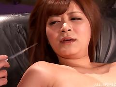 Risa Kasumi gets face-fucked after enjoying some naughty toying