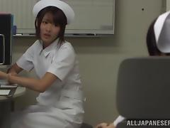 Japanese nurse gets fucked by a monster at her work place