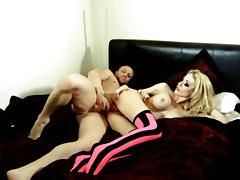 British slut gets fucked in pink and black hold-ups