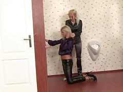 Blonde milfs Bianca Oxa and Stacy Silver work on a gloryhole dick