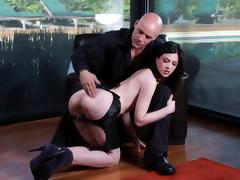 Cheeky brunette porn hottie Stoya receives a hot facial cumshot