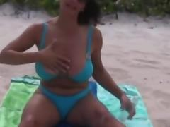 Breasty Older Mama With Excellent Natural Milk Cans Undressed At Beach