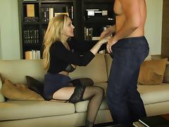 Cock starved MILF Julia Ann rides him and gives him a blowjob