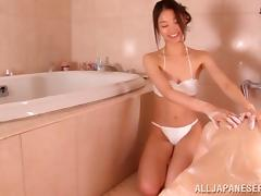 japanese babe in bikini gives hot blowjob in soapy hardcore