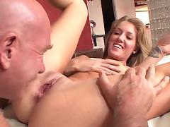 Old and Young, Bedroom, Blowjob, Couple, Penis, Small Tits