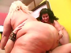 Two mature BBWs get ass fucked and cum on tits