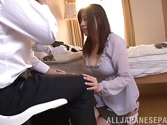 Pretty Asian girl with big tits licking and sucking her boyfriend's huge cock