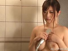 Busty asian hottie Satou Haruka gets pussy shared by horny studs