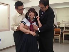 Japanese college girl Emily Takahash enjoys MMF sex