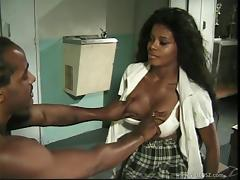 Serena Lewis gets her shaved ebony pussy banged after oral sex