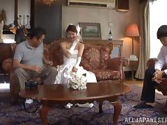 Asian bride with pretty natural tits getting her wet pussy licked