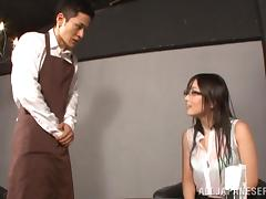 japanese cowgirl in glasses drilled in the office hardcore