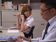 Japanese office girl masturbates with vibrator then gives boss blowjob