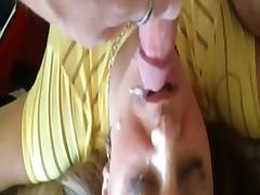 Cum load on her face