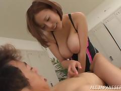 Busty Asian girl gets her pussy hammered in a locker room