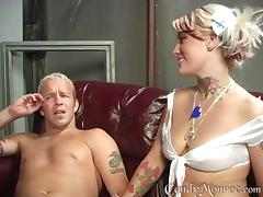 Charming blonde Candy Monroe sucks and rides a BBC