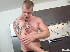 Gay guy gives oily massage and BJ before fucking asshole