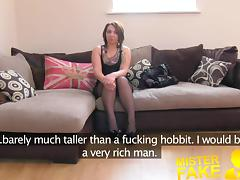 MisterFake Promise of cash helps brunette take agents cock