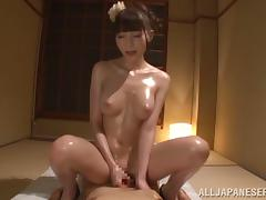 Adorable Rei Aimi gets oiled up and enjoys a deep hard fuck
