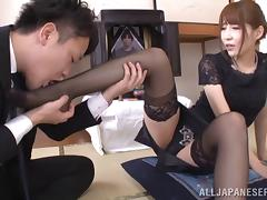 Japanese mom wearing stockings enjoys some naughty banging