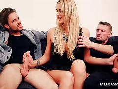 Chelsey Lanette sucks and rides two hard cocks and gets facialed