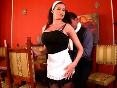 Gorgeous maid with huge natural tits enjoying a hardcore doggy style fuck