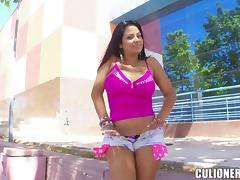 Latina babe with big tits enjoying a hardcore fuck in public