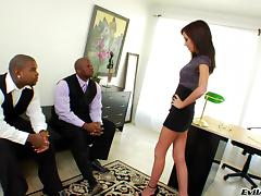 Miniskirt, Black, Desk, Ebony, Interracial, MMF