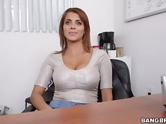 Attractive Latina babes with big tits being screwed hardcore ontop of office desk