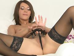 Alexis Brill wears sexy thigh high stockings while toying her pussy