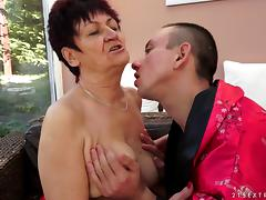 Mom and Boy, Blowjob, Granny, Horny, Mature, Naughty