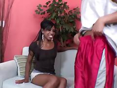Seductive ebony in sexy miniskirt feasting on her dude's massive black cock in reality close up shoot