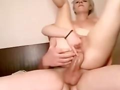hort haired girl rides huge dick anal