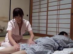 Ardent Japanese nurse giving a sensual massage before getting throbbed doggystyle in reality shoot