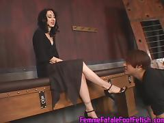 Ambitious foot fetish brunette in high heels pose lovely before enjoying her toe being licked