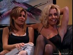 Affectionate babes in stocking unpinning her attire before enjoying her pussy being fingered in retro shoot