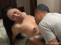 Adorable Japanese MILF with long hair getting kissed before being hammered doggystyle
